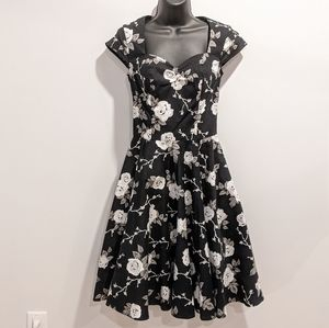 Hell Bunny fit and flare black floral dress XS